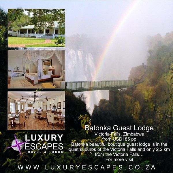 Introducing Batonka Guest Lodge in Victoria Falls, Zimbabwe from USD185 pp. Batonka beautiful boutique guest lodge is in the quiet suburbs of the Victoria Falls and only 2.2 km from the Victoria Falls… For more visit www.luxuryescapes.co.za
