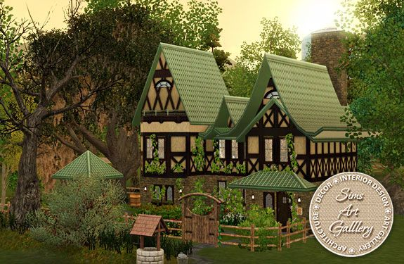 Wooden lodge http://www.sims-artgallery.net/en/gallery/sims-3/lots/residential-lots/small/1622/