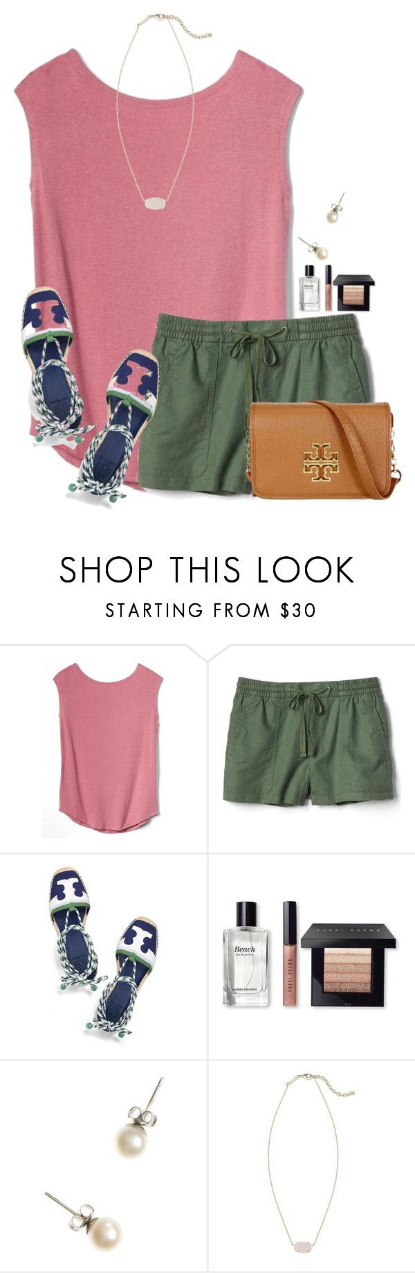 """~Watermelon colors~"" by flroasburn ❤ liked on Polyvore featuring Gap, Tory Burch, Bobbi Brown Cosmetics, J.Crew and Kendra Scott"