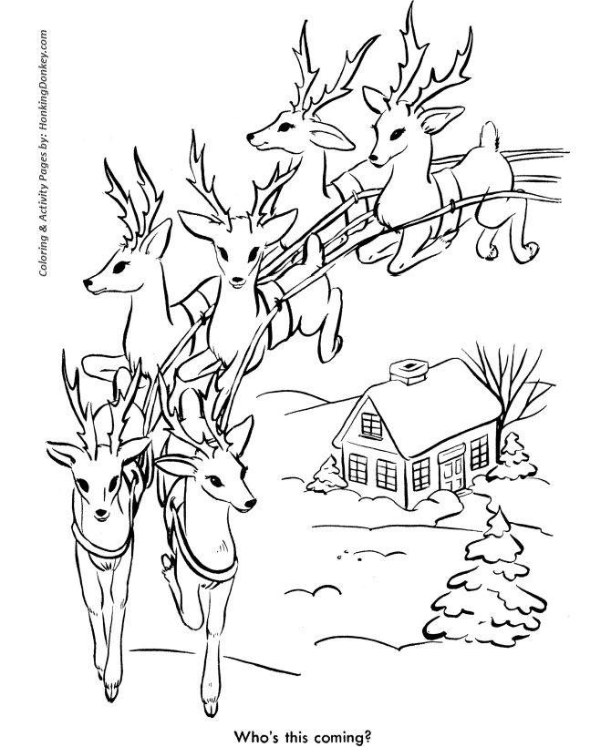 Santa\'s Reindeer in Flight Page | Coloring Christmas Pages ...