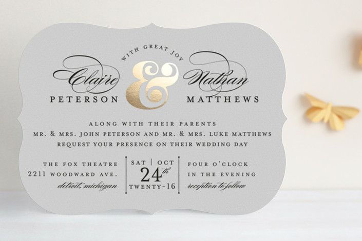 Dapper Amper Foil-Pressed Wedding Invitations by Snow and Ivy at minted.com