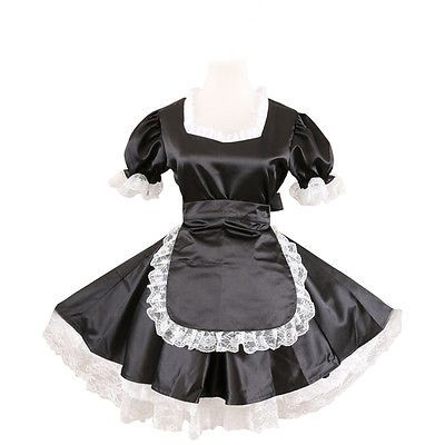 Sexy Sissy Maid Black Satin Dress Gothic Lolita Cosplay Costume Male