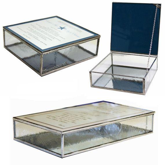 Glass Wedding Invitation Keepsake Box by BazaarGlass on Etsy, $68.50