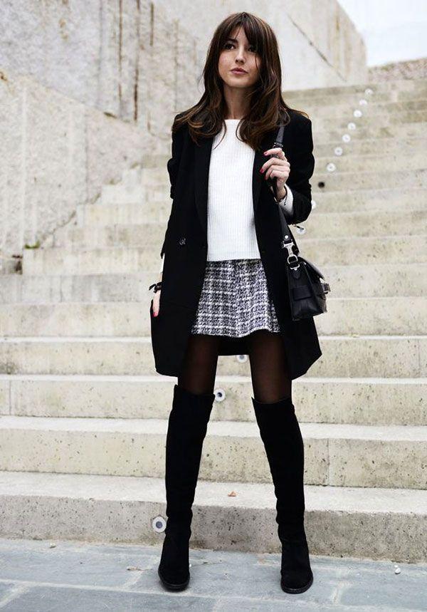 Look elegante, combinando bota over the knee + meia calça + preto e branco
