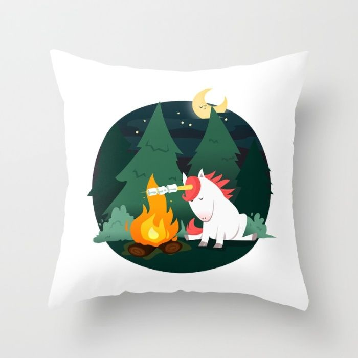 Forest of the Unicorn Throw Pillow by Erika Biro | Society6