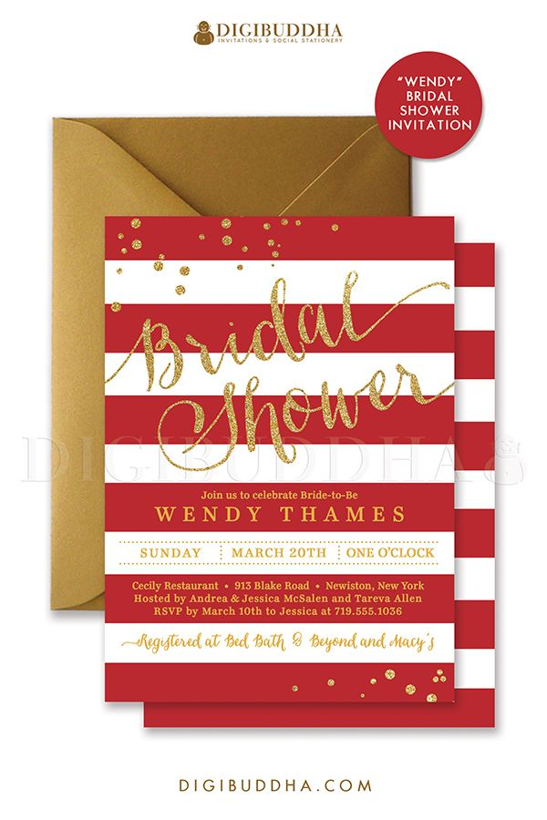 Red and gold stripes bridal shower invitation with gold glitter, red stripe details and confetti sprinkles in the corners. Choose from ready made printed invitations with envelopes or printable bridal shower invitations. Silver shimmer envelopes also available. digibuddha.com