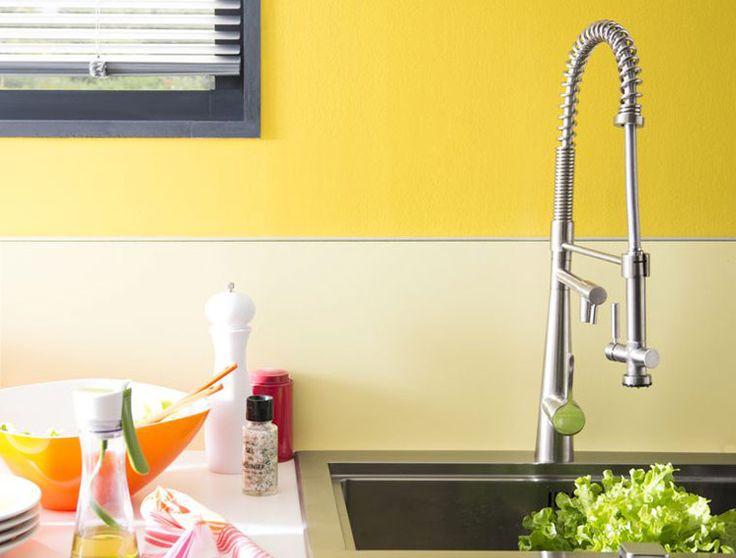 Du soleil dans la cuisine un coloris joyeux de peinture - Coloris peinture cuisine ...
