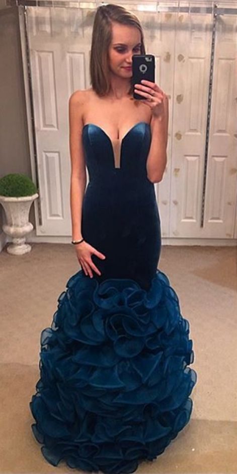 Prom Dresses,Mermaid Prom Dresses,Ruffles Mermaid Evening Dress,Sexy Party Dress,Sweetheart Party Dresses for Juniors