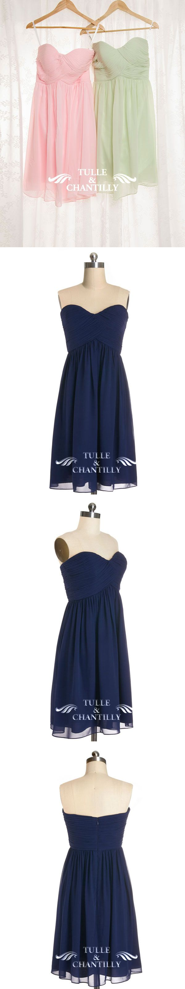 indigo wedding color ideas - short chiffon sweetheart bridesmaid dress in pink, sage and indigo - see more at: http://www.tulleandchantilly.com/cute-short-indigo-sweetheart-chiffon-bridesmaid-gown-p-527.html