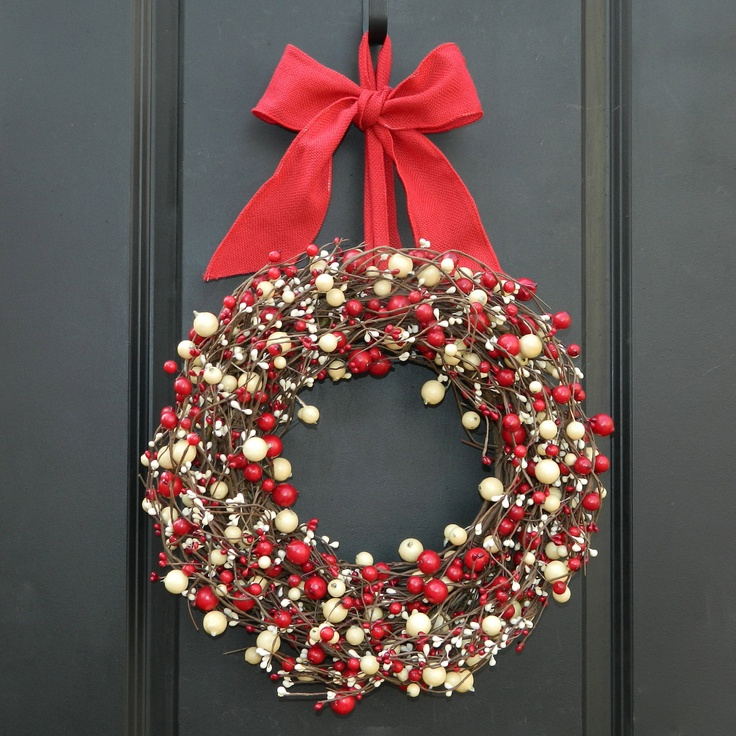 Christmas Wreath - Red and White Wreath - Holiday Wreath. $59.00, via Etsy.
