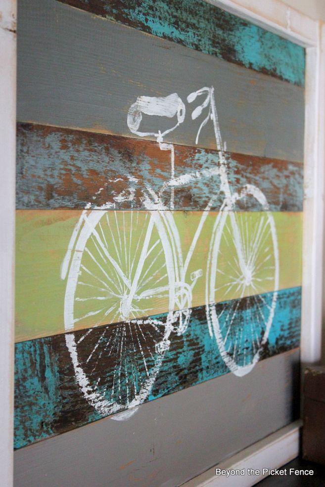 Hometalk :: Reclaimed Wood Bike Art