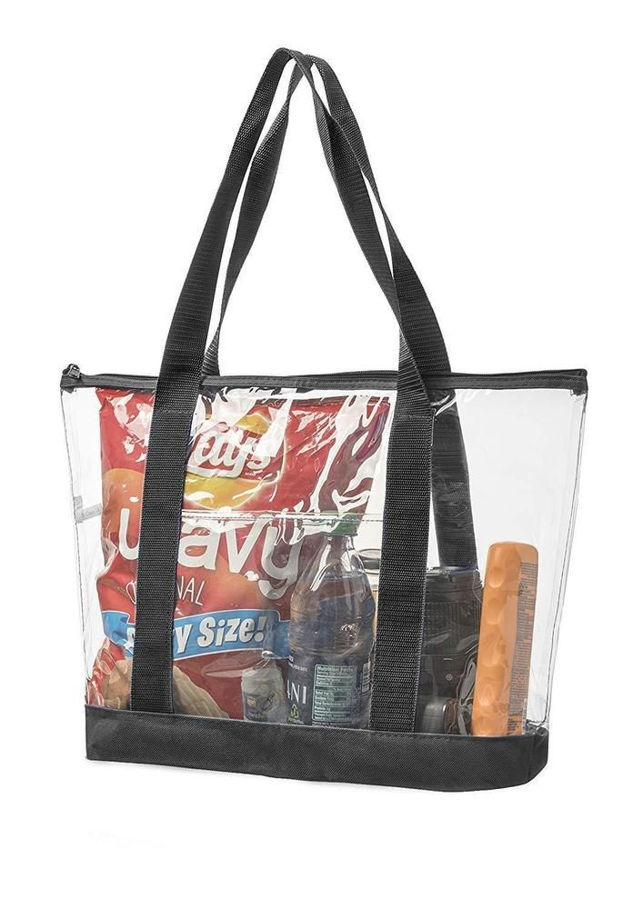 Bags For Less Large Clear Vinyl Tote Bags Shoulder Handbag Black Fashion Clothing Shoes Accessories Womens Zipper Tote Bag Gym Tote Bags Clear Tote Bags