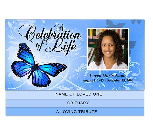 Butterfly Preprinted Title 4-Page Graduated Bottom Fold Funeral - free template for funeral program