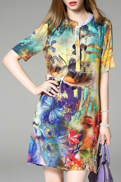 #AdoreWe #Dezzal Mini Dresses - Dezzal Mini Colorful Floral Printed Dress - AdoreWe.com