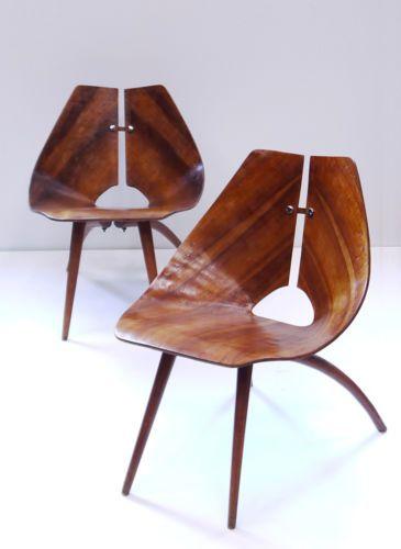 Vintage 40s 50s Molded Plywood Side Chairs Ray Komai Mid Century Eames Era   eBay