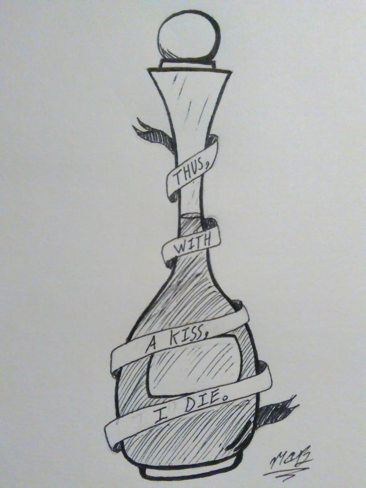 Drawn in tattoo style; A bottle of poison with the words ...