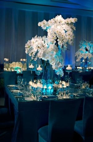 ... Crushed Blue Glass, Seashells, Mercury Balls And White Phalaenopsis  Orchids Perfect Decorations For Engagement Dinner Or Wedding Reception