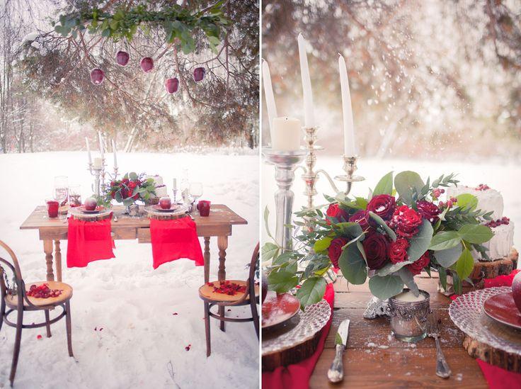 Чудесный зимний декор с оттенками Марсала