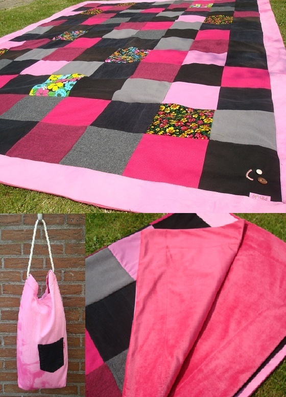 Pinuki: patchwork blanket made of material scraps of sewing project and used black jeans