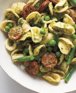 Pesto Orecchiette With Chicken Sausage recipe...for my 99 cent orecchiette from Trader Joes!
