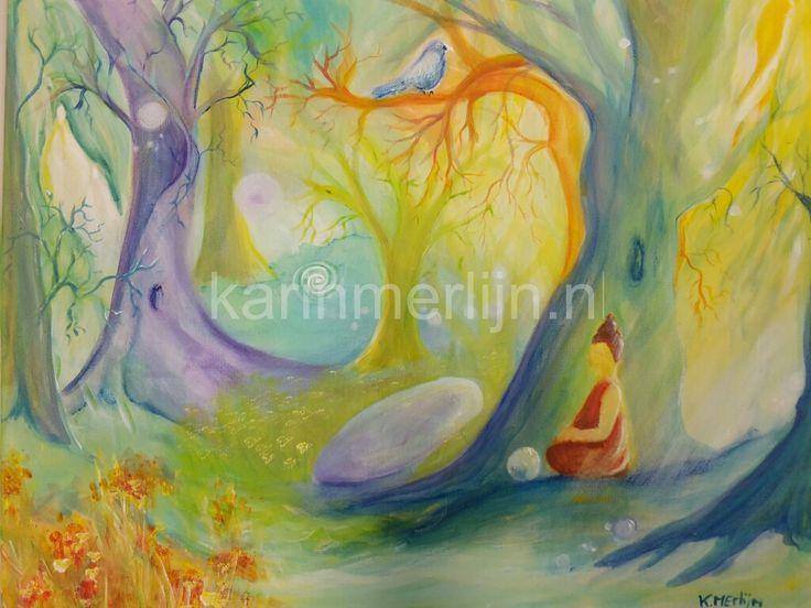 Magisch bos 2 40 x 50 cm acryl op canvas 2016 Intuïtief schilderen www.karinmerlijn.nl