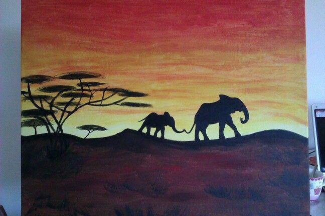 Schilderij olifant bij zonsondergang, verkocht.
