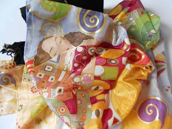 Sciarpa di seta dipinta a mano l'Abbraccio di di AdeleDaniele