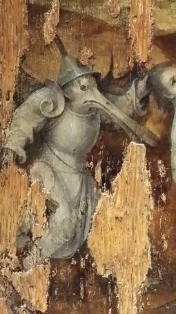 Ce cuirassier coiffé de l'entonnoir du fou et ridiculisé par un bec de canard se remarque sur la face extérieure d'un des volets d'un petit triptyque sorti de l'atelier de Bosch. Un panneau traite d'après le Déluge, le second, tout aussi abîmé, où figure cet hybride, imagine ce que serait la vie après le Jugement dernier. Ce bois est conservé à Rotterdam.