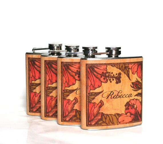Five Personalized Bridesmaid gift  wood Flasks by Wickensnuffers