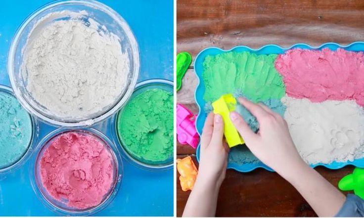 Une recette de sable cinétique maison! Le sable de lune fascine les enfants! C'est magique!