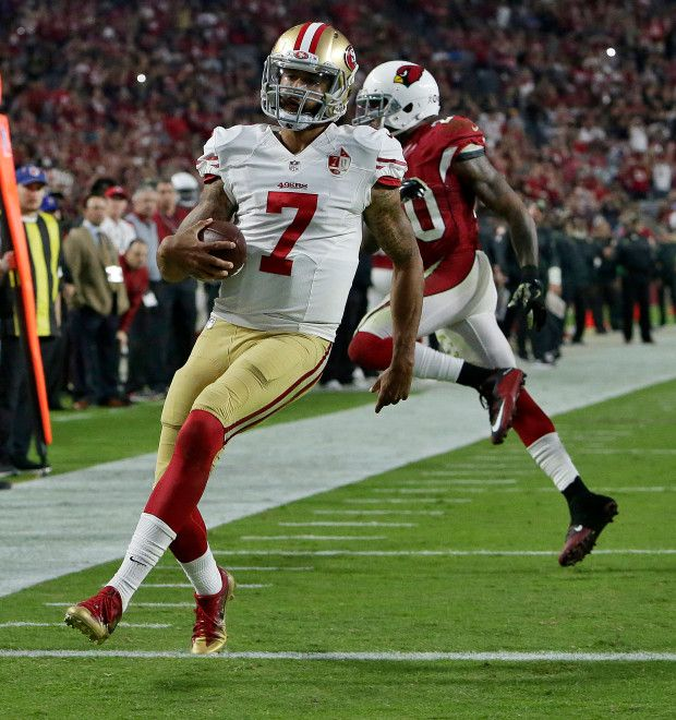 49ers vs. Cardinals:  23-20, Cardinals  -  November 13, 2016  -     San Francisco 49ers quarterback Colin Kaepernick (7) runs for a touchdown as Arizona Cardinals outside linebacker Deone Bucannon (20) defends during the second half of an NFL football game, Sunday, Nov. 13, 2016, in Glendale, Ariz. (AP Photo/Rick Scuteri)