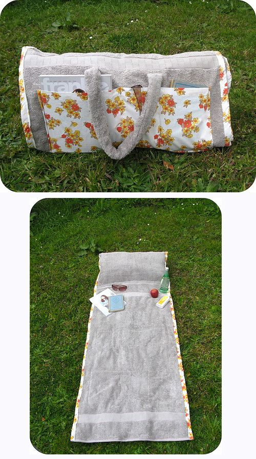 Make a tote bag that turns into a beach towel (with a pillow in it!).
