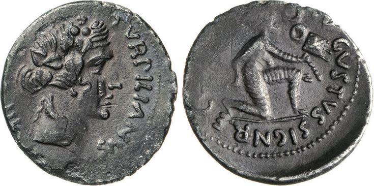 NumisBids: Numismatica Varesi s.a.s. Auction 65, Lot 136 : AUGUSTO, monetario P. Petronius Turpilianus (18 a.C.) Denario. B....