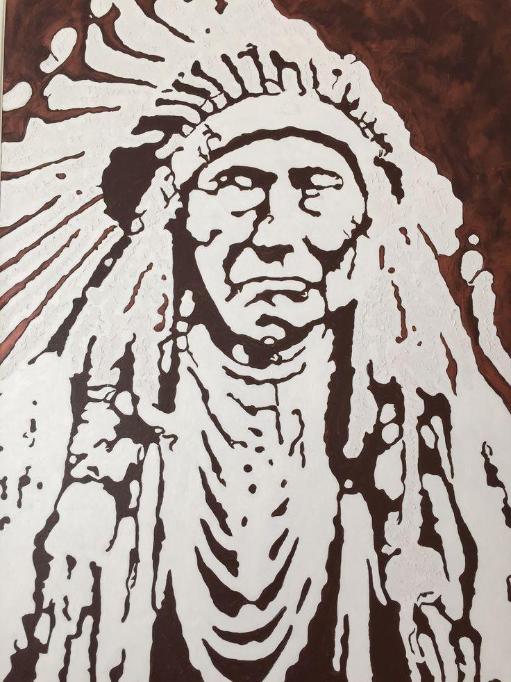 """Indian Chief I"" by Maria Fosli 100x70 acrylic"