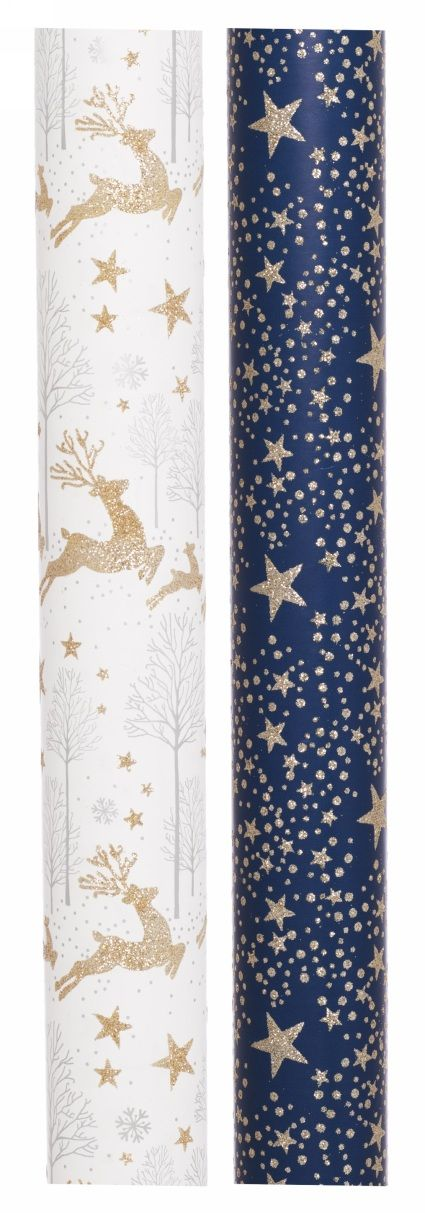 WHSmith Luxury Glittered Stag and Star Christmas Wrapping Paper 2m (Pack of 2 Rolls )
