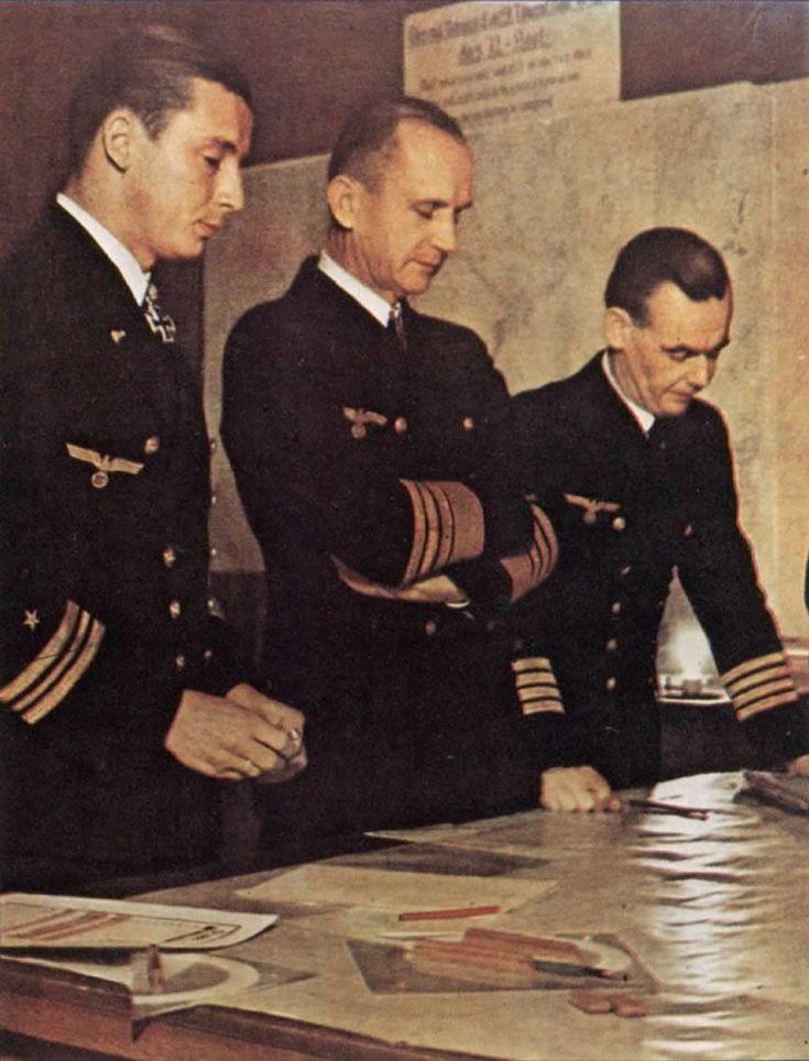 Adalbert Schnee, Karl Dönitz and Eberhard Godt at the Kriegsmarine Headquarters in Berlin, Germany. January 1943.