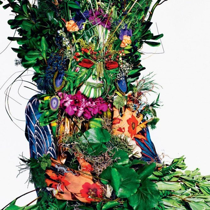 Go green this summer, quite literally  Now you can do your bit to save the planet without losing your cool, while amping up your style quotient in the bargain.  This is exactly what Tati Cotliar has done in T Magazine's 'Go Green' themed summer issue - by donning foliage from head to toe.  Tati's vegetation-heavy, true nature-girl looks have been captured beautifully by photographer Richard Burbridge in New York Times's style magazine.Cabinets Of Curio, Woman Fashion, Green Goddesses, Mothers Earth, Tati Cotliar, Richard Burbridge, Green Man, Style Summer,  Flowerpot