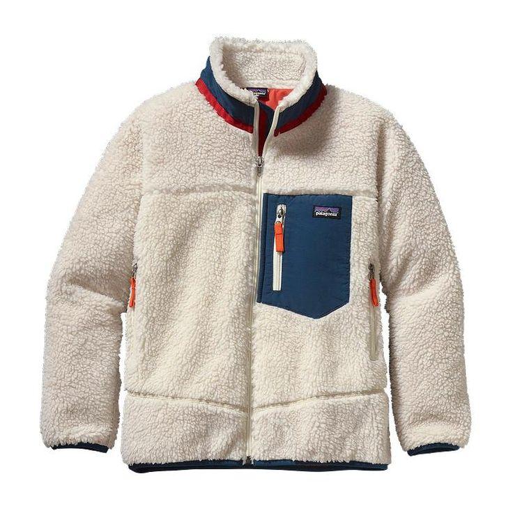 Patagonia Kids\' Retro-X\u00AE Fleece Jacket - Natural w\/Crater Blue NTCB