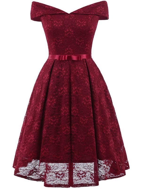 Hapqeelin Women s Vintage Floral Lace Off The Shoulder Prom Wedding  Cocktail Party Swing Dress c87548e19171