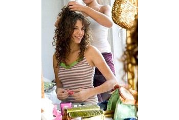Curly Hair Do's and Don'ts!  Do- when you are short on time spray your hair with water and apply mousse.  Don't- comb it when dry, it can permanently break your curls.