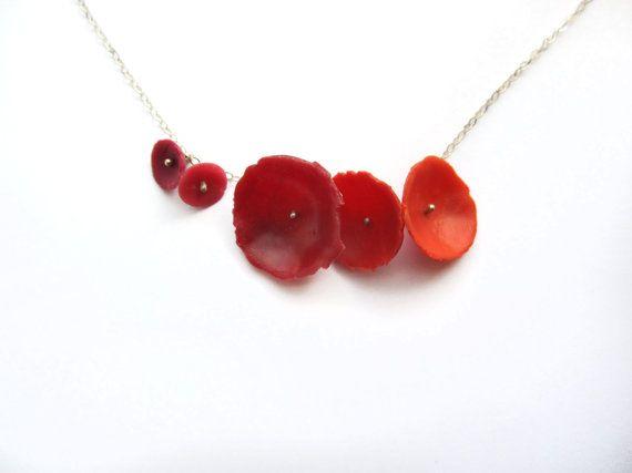Collier rouge pavot de Californie. Argent par BlueEyedSquirrel