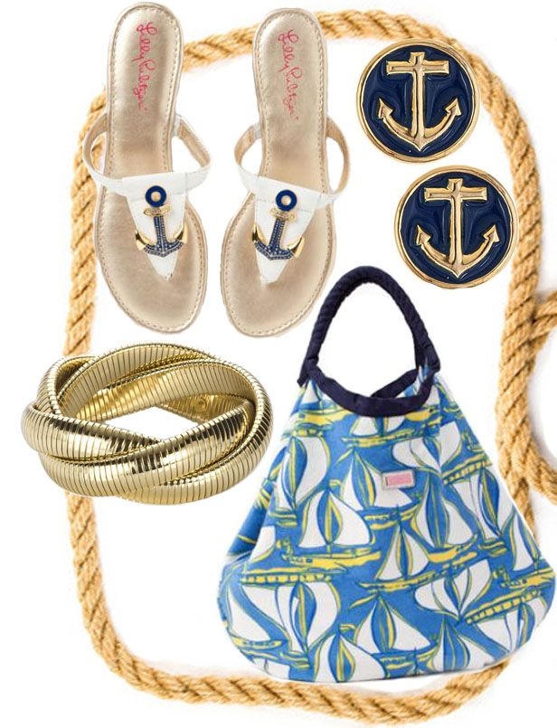 nautical with lilly p: Lilly Pulitzer, Anchors Sandals, Bags Lilly, Gold Bracelets, Studs Earrings, Lilly Lovers, Beaches Bags, Nautical Fashion, Gold Studs