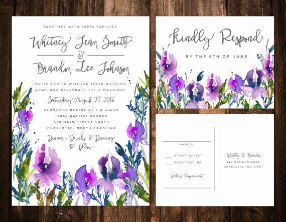 Watercolor Lilac Wedding invitation Suite Purple by papernpeonies