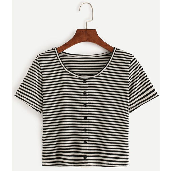 Black White Striped T-shirt With Buttons ($5.99) ❤ liked on Polyvore featuring tops, t-shirts, crop, black and white, stretch t shirt, crop t shirt, short sleeve tee, black and white t shirt and short sleeve crop top