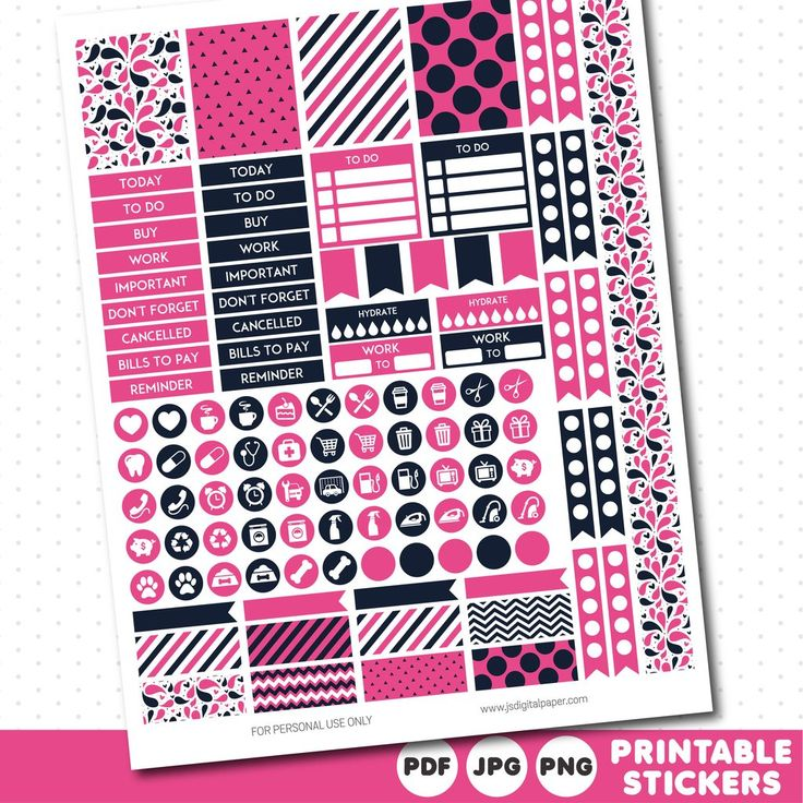 Black and hot pink weekly planner stickers with headers, full boxes, half boxes…