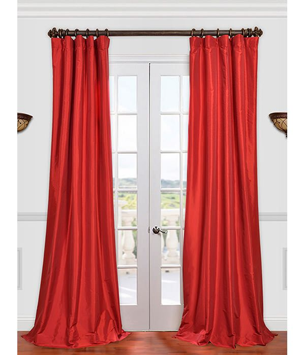 Get Hollywood Red Faux Silk Taffeta Curtains Amp Drapes At