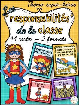 Responsabilités dans la classe - French Classroom Jobs - Thème: super-héros