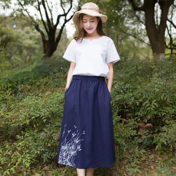 Осень шлифе плюс удобрения XL упругие талии юбки хлопка юбки жира мм длинный участок платье юбка в складку