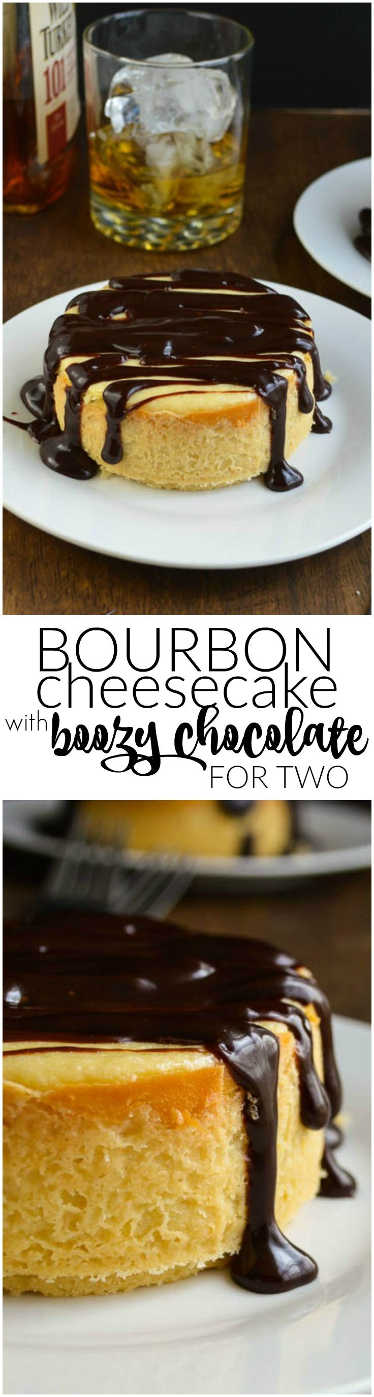 Creamy bourbon cheesecake with a shortbread crust topped with smooth chocolate sauce heated with more bourbon. Rich and delicious -- and a perfect dessert for two!