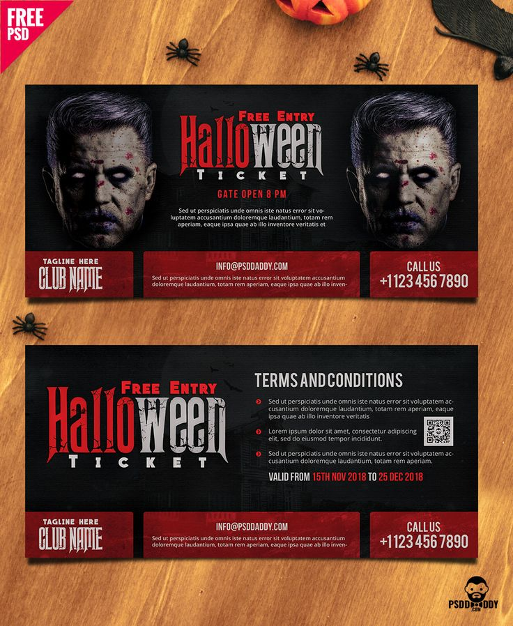 Halloween Free Entry Ticket PSD Template – uxfree